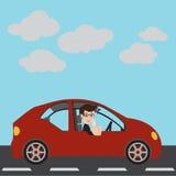 Geschäftsmann in einem roten Auto Lizenzfreies Stockfoto