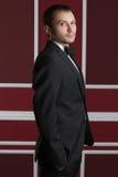 Geschäftsmann in einer Klage auf einer roten Wand Stockbild
