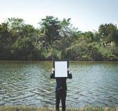 Geschäftsmann-Enterprise Environment Explore-Konzept lizenzfreie stockbilder