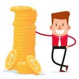 Geschäftsmann erhalten eine Haltung mit Stapel Münzen Lizenzfreie Stockbilder