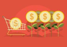 Geschäftsmann erntete Geld vom Baum Lizenzfreie Stockfotografie