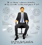Geschäftsmann Executive Sitting Chair über Grau Stockfotografie