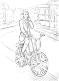 Geschäftsmann fährt Fahrrad Lizenzfreies Stockfoto