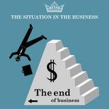 Geschäftsmann fällt von der Pyramide Der Einsturz des Geschäfts Bankrott Auch im corel abgehobenen Betrag Lizenzfreie Stockbilder