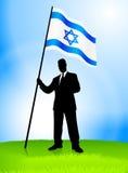 Geschäftsmann-Führer-Holding-Israel-Markierungsfahne Lizenzfreie Stockbilder