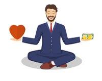 Geschäftsmann fand seine Balance mit Liebe und Geld Stockfoto