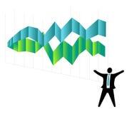 Geschäftsmann feiert Geschäfts-Wachstum-Erfolg Stockfotos