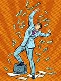 Geschäftsmann-Finance-Geldfall Stockfoto