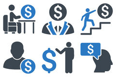 Geschäftsmann Flat Glyph Icons Stockfoto