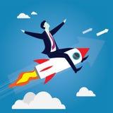 Geschäftsmann Flying High Riding ein Rocket Lizenzfreie Stockfotos