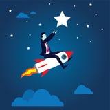 Geschäftsmann Flying High Riding ein Rocket Stockbilder