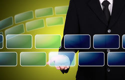 Geschäftsmann geben leeren Knopfaugenblick Lizenzfreie Stockbilder
