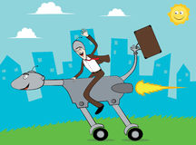 Geschäftsmann gehen zum Büro, indem er Turbo-Hund reitet Lizenzfreie Stockfotos