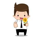 Geschäftsmann-Geldkarikatur Stockbild