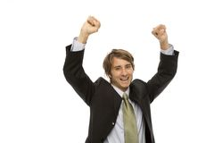 Geschäftsmann gestikuliert Erfolg Stockfoto