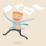 Geschäftsmann glücklich am Freitag Lizenzfreies Stockfoto