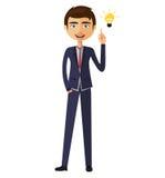 Geschäftsmann glücklich mit seiner Geschäfts-Konzeptillustration der guten Idee Stockfotos