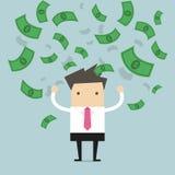 Geschäftsmann glücklich mit vieler Banknote, die in die Luft fließt Stockfotos