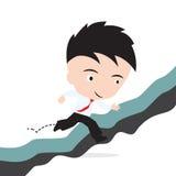 Geschäftsmann glücklich zum Springen über den Abstand der Klippe oder zum Hindernis zum Erfolgskonzept, dargestellt in der Form Lizenzfreie Stockbilder