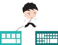 Geschäftsmann glücklich zum Springen über den Abstand des Gebäudes zum Erfolgskonzept, dargestellt in der Form Lizenzfreies Stockfoto