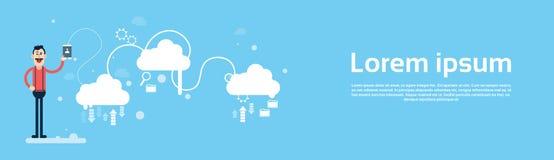 Geschäftsmann-Griff-Tablet-Anteil-Daten-Wolken-Komputertechnologie-Fahne lizenzfreie abbildung