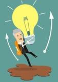 Geschäftsmann hält fliegende Glühlampe, um weg von Treibsand zu erhalten Geschäftskonzept-Karikaturillustration Stockfotografie