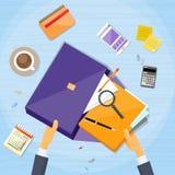 Geschäftsmann-Hand Work Stuff-Aktenkoffer-Schreibtisch stock abbildung