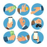 Geschäftsmann Hands Set Vector Verkäufer, Arbeitskraft Ein Bankkonto haben des Finanzverkaufs-Konzeptes Menschliche Handgeschäfts vektor abbildung