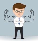 Geschäftsmann Happy mit starkem Entwurf des Armes Stockfotografie