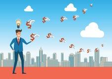 Geschäftsmann hat gutes Ideen- und Wissensdann Geld und Reichtumsflorida lizenzfreie abbildung