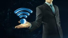 Geschäftsmann hat an Hand wifi Netz-Symbolschwarzes vektor abbildung