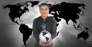 Geschäftsmann-Holding-Welterde Lizenzfreie Stockfotos