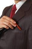 Geschäftsmann-Holdingfeder Stockfotos