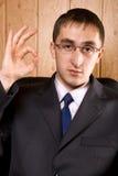 Geschäftsmann-Holdinghand oben lizenzfreies stockbild