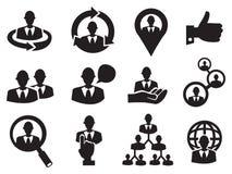 Geschäftsmann-Ikone eingestellt für menschliche Ressource Lizenzfreie Stockfotos