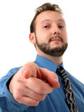Geschäftsmann im blauem Zeigen lizenzfreie stockbilder