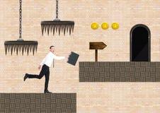 Geschäftsmann im Computer-Spiel-Niveau mit Münzen und Fallen vektor abbildung