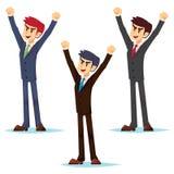Geschäftsmann im Geschäft kleidet des GeschäftsmannBüroangestellten der Klage junge kaukasische glückliche Sieghände oben Vektor  stock abbildung