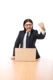 Geschäftsmann im Geschäftskonzept lokalisiert auf Weiß Lizenzfreie Stockfotografie
