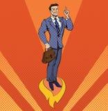 Geschäftsmann im Knall Art Style Star Up Concept Lizenzfreies Stockfoto