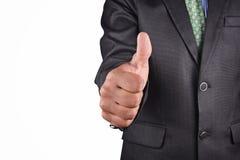 Geschäftsmann im schwarzen Anzug lokalisiert Stockfotos