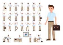 Geschäftsmann im zufälligen Büroblick-Karikaturzeichensatz Vector Illustration der Büroperson in den verschiedenen Haltungen stock abbildung