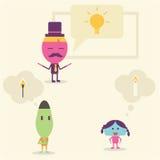 Geschäftsmann-Including-Ideenkarikatur Stockfotos