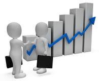 Geschäftsmann Increase Shows Success erfolgreich und Wiedergabe des Fortschritts-3d Lizenzfreie Stockbilder
