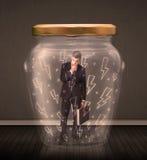 Geschäftsmann innerhalb eines Glasgefäßes mit Blitzzeichnungskonzept Lizenzfreie Stockbilder
