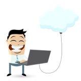 Geschäftsmann ist Wolkendatenverarbeitung Lizenzfreie Stockfotografie