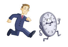 Geschäftsmann jagt Zeit Lizenzfreie Stockfotos