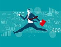 Geschäftsmann-Jumping-Finanzhintergrund Stockfoto