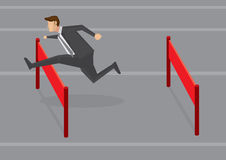 Geschäftsmann-Jumping Hurdles Vector-Illustration Lizenzfreie Stockbilder