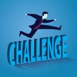 Geschäftsmann Jumping Over Challenge Stockbilder